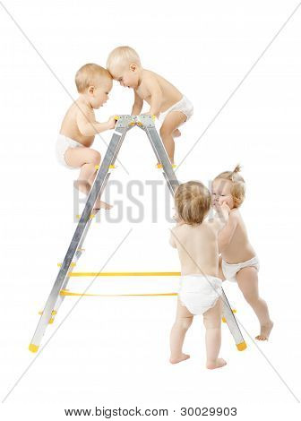 Group Of Babies Climbing On Stepladder And Fighting For First Place