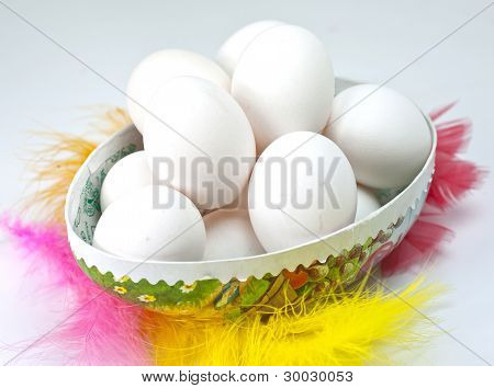 White Eggs In An Easter Egg