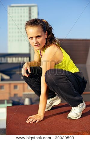 Parkour On Urban Building Rooftop