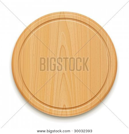 kitchen cutting board vector illustration isolated on white background EPS10. Transparent objects used for shadows and lights drawing