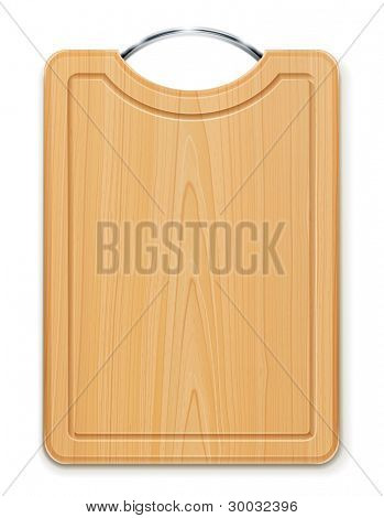 kitchen cutting board with handle vector illustration isolated on white background EPS10. Transparent objects used for shadows and lights drawing