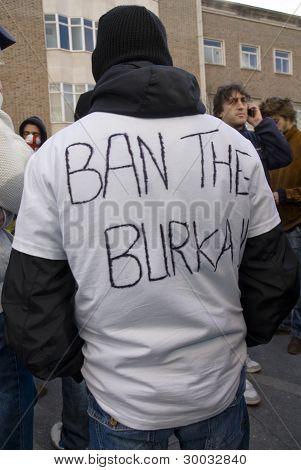 A Non-English Defense League member with Ban the Burka
