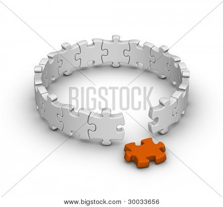 gray jigsaw puzzles with one orange piece