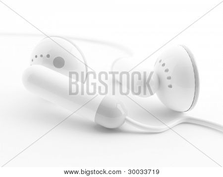 Modern light earphones on a white background