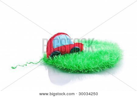 Ecological Clean Concept Car On Green Grass