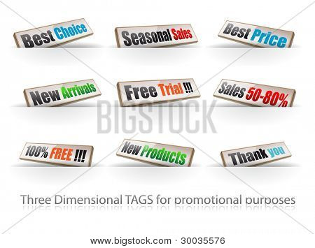 Set of threedimentional panels for products promotion. Delicate colours and  9 different slogans.
