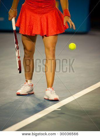 MELBOURNE - JANUARY 22 Caroline Wozniacki of Denmark in her foruth round win over Jelena Jankovic of Serbia at the 2012 Australian Open on January 22, 2012 in Melbourne, Australia.