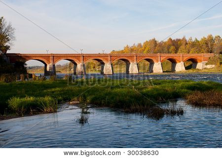 Old Brick Bridge Over River Venta