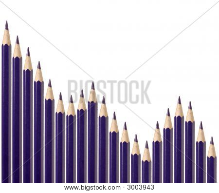 Business Graph Illustrating Decline Made Up Of Pencils
