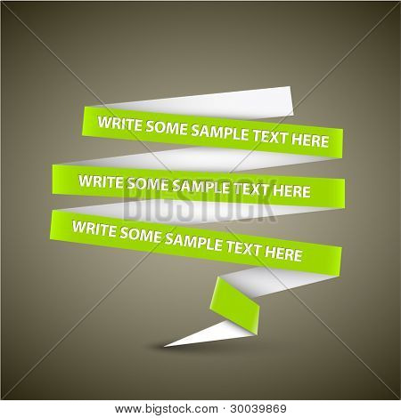 Vector Green speech bubble made from paper stripe with sample content
