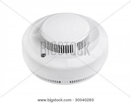 Smoke alarm isolated on white