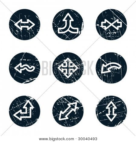 Arrows web icons set 2, grunge circle buttons