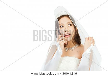 Beautiful asian woman dressed as a bride