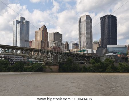 Pittsburgh Pennsylvania riverfront downtown cityscape aerial.