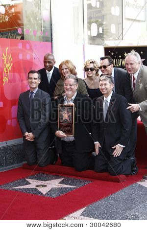 LOS ANGELES, CA - FEB 14: Nancy Cartwright; Matt Groening; Yeardley Smith; Hank Azaria at a ceremony as Matt Groening gets a star on the Walk Of Fame on February 14, 2012 in Los Angeles, California