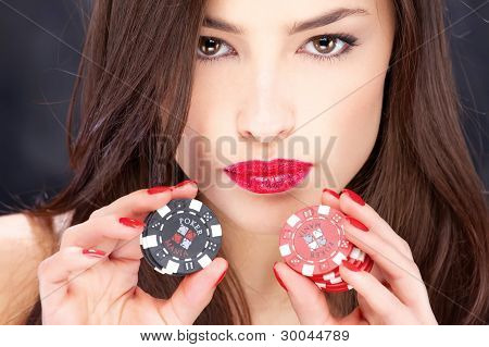 Woman And Gambling Chips