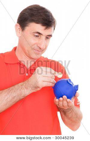 man putting coins
