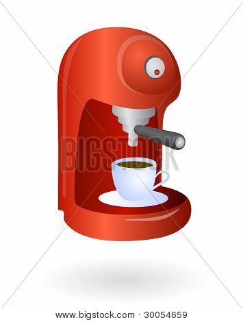 red espresso coffee machine
