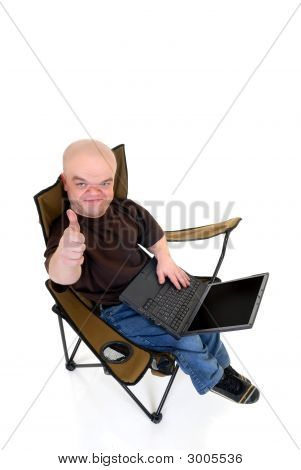 Dwarf, Little Man On Laptop