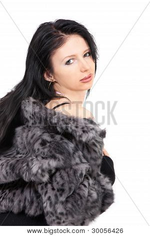 The Young Beautiful Girl In A Fur Coat