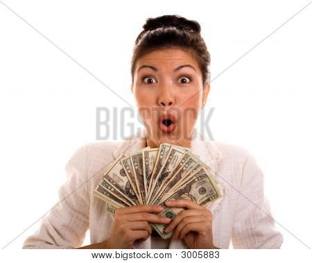 Surprised Winner Holding Cash