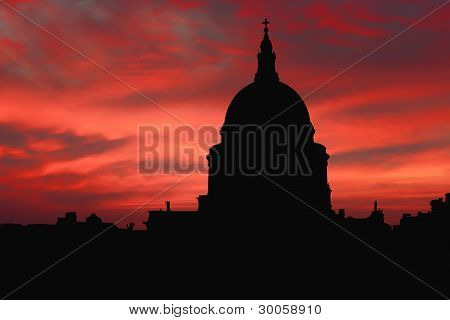 St Pauls Silhouette at Sunset