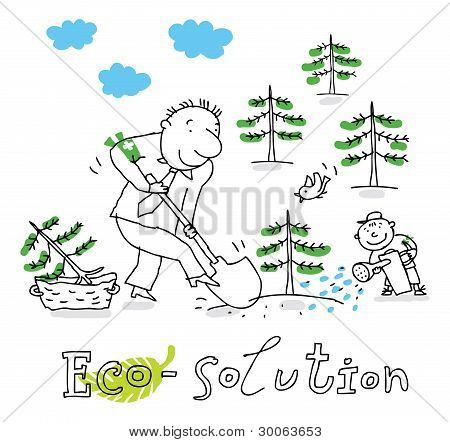 Eco solution, vector drawing Eco solution, vector drawing
