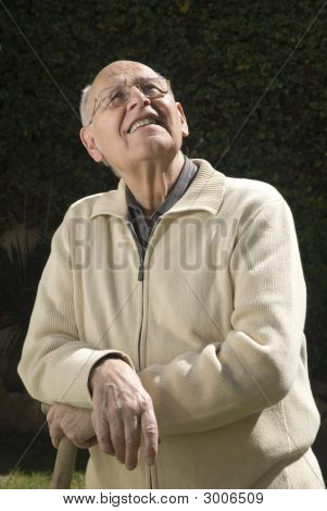 Senior Gardener Checking The Weather