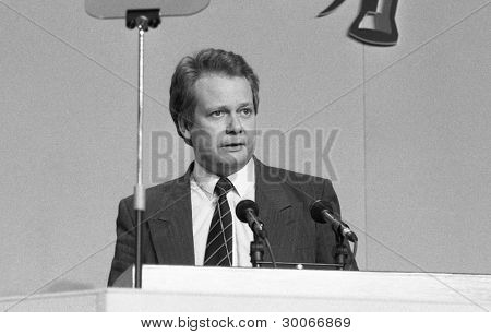 LONDON - MARCH 3: Eric Ollerenshaw, Conservative leader on the Inner London Education Authority, speaks at a party conference on March 3, 1990 in London. He is now M.P. for Lancaster and Fleetwood.