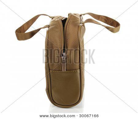 Woman's khaki bag isolated on white