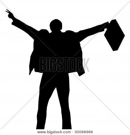 Celebrating Businessman Silhouette