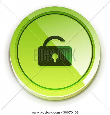 Glossy green bright lock unlock button with open lock symbol