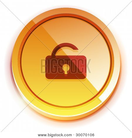 Glossy orange bright lock unlock button with open lock symbol