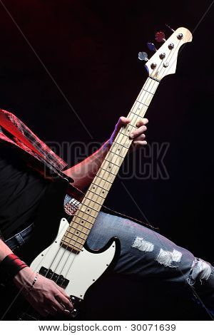 A Bassist Plays At Rock Concert