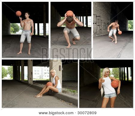 Street Basketball People Collage. Made Of Five Photos.