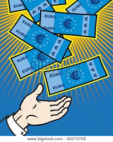 Money (euro banknotes) falling from heaven. Vector format EPS 8, CMYK.