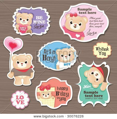 Teddy Bears gift tag/ sticker/ greeting card