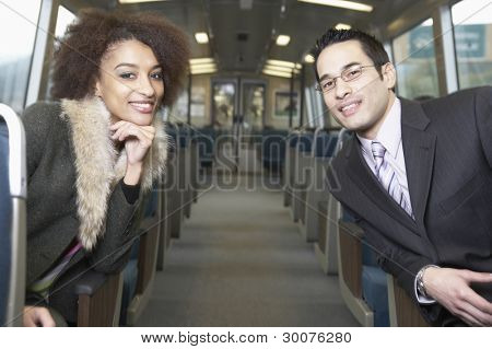Portrait of business people on subway