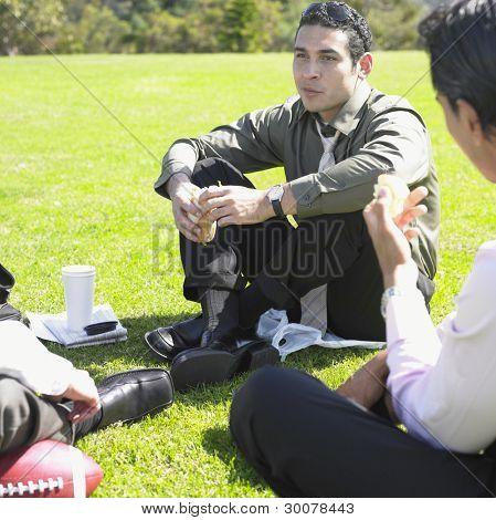 Businessmen having lunch in park