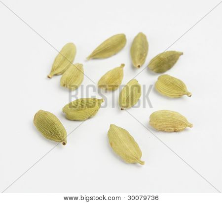 Cardamom pods spread out on white background