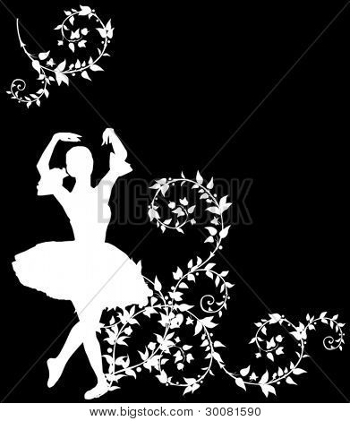 illustration with ballet dancer in plant curls