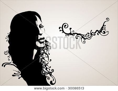 Woman's Face Silhouette. Vector Illustration