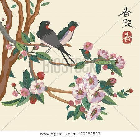 Spring . Japan . Birds . Sakura .
