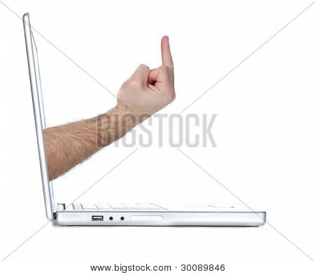 Computer flipping the bird