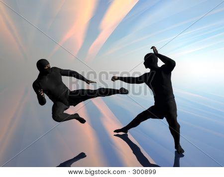 Two Ninja In Fight.