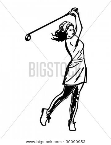 Woman Golfer 3 - Retro Clipart Illustration