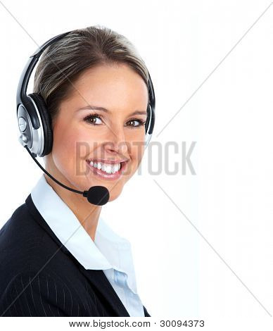 Young Call customer center operator woman with headset. Isolated over white background