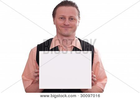Smiling Man Is Holding A White Blank Frame