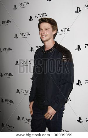 LOS ANGELES, CA - FEB 15: Patrick Schwarzenegger at the Sony PlayStationAE Unveils PS VITA Portable Entertainment System at Siren Studios on February 15, 2012 in Los Angeles, California