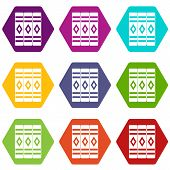 Three Literary Books Icon Set Many Color Hexahedron Isolated On White Illustration poster